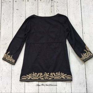 MICHAEL Michael Kors Tops - Michael Kors navy v-neck tunic w/ tan embroidery
